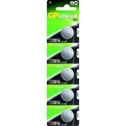 Pile CR2016 (en carte de 5 piles)