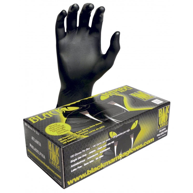 BLACKMAMBA - Boîte de 100 gants jetables nitrile noir XL