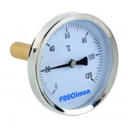 Thermomètre inox raccordement axial D.65 de 0 à 120°C L.5 cm