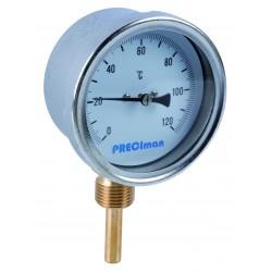 Thermomètre inox raccordement vertical D.80 de 0 à 120°C L.5 cm
