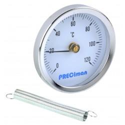 Thermomètre à bracelet en inox D.63 de 0 à +120°C