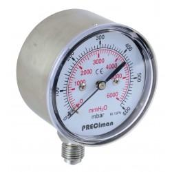 Manomètre inox vertical D63 0/60mbar G1/4'