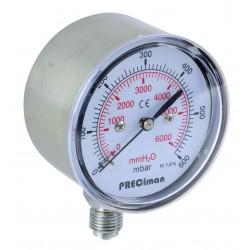 Manomètre inox vertical D63 0/600mbar G1/4'
