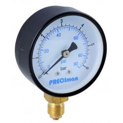 Manomètre acier vertical D63 0/6bar G1/4'