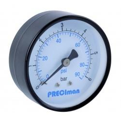 Manomètre acier axial D63 0/6bar G1/4'