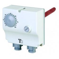 Aquastat plongeant double de 0° à 90° et 0 à 100° régl.externe et sécurité