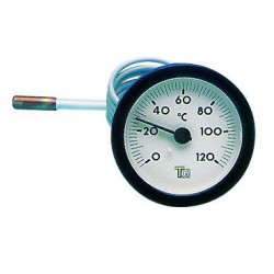 Thermomètre rond D.57 de 0/120°C Capillaire : L.1500 mm