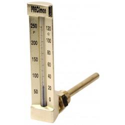 Thermomètre équerre -30°/+50°C plongeur 100mm hauteur 200mm