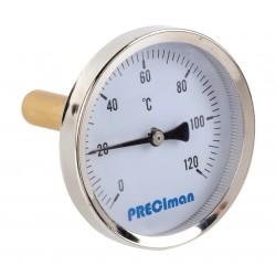 Thermomètre inox racc. axial D.65 de 0 à 120° C L.10cm+doigt de gant