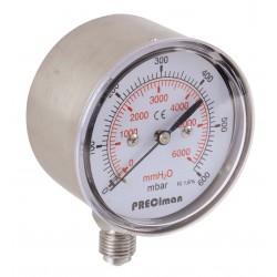 Manomètre inox vertical D100 0/60mbar G1/2'