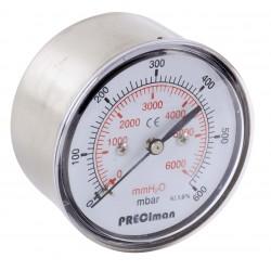 Manomètre inox axial D63 0/400mbar G1/4\'