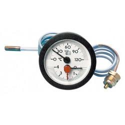 Thermomanomètre rond 0/4 bar 0/120°C D57 capillaire 1,5m