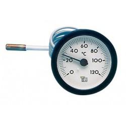 Thermomètre rond D.57 de 0/120°C Capillaire : 1000 mm
