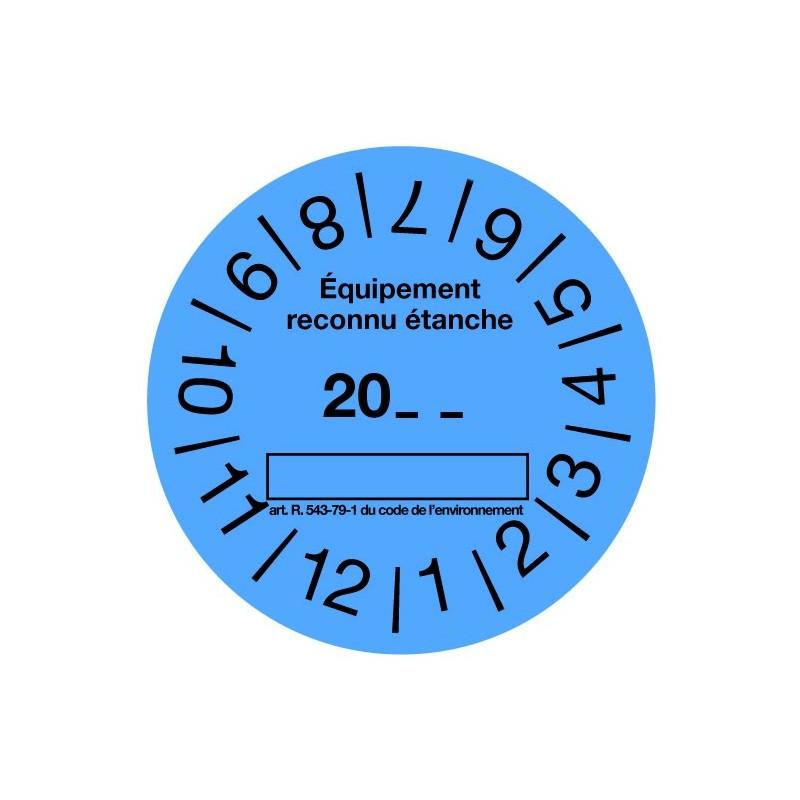 Rouleau de 100 étiquettes de contrôle étanchéité bleues