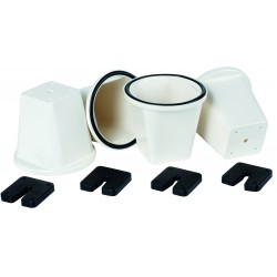 Set de 4 supports cylindriques blancs PVC